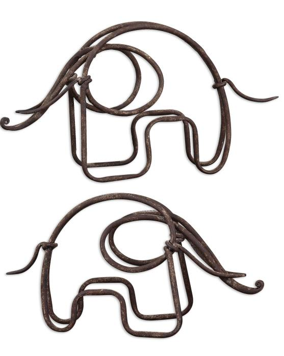 Uttermost 19785 Metal Elephants, S/2 - фото 2