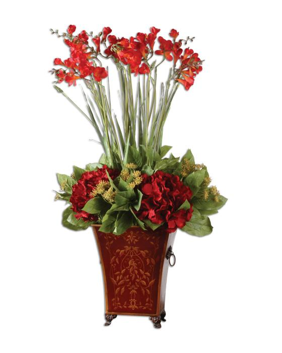 Uttermost 60099 Red Freesia In English Tole Planter - фото 2