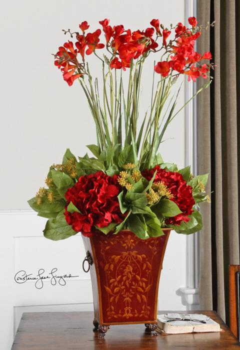 Uttermost 60099 Red Freesia In English Tole Planter - фото 1